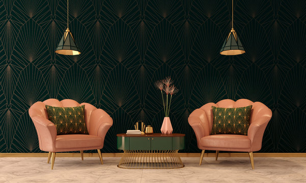 Art Deco interior in classic style with pink armchair and lamp.3d rendering.