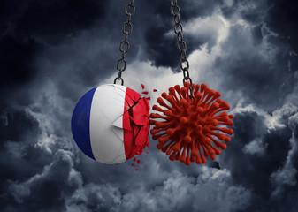 Virus microbe smashing into France flag ball. 3D Render
