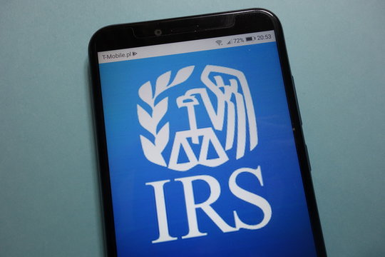 KONSKIE, POLAND - November 10, 2018: IRS (Internal Revenue Service) logo displayed on smartphone