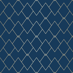 Vector golden geometric texture. Elegant seamless pattern with thin lines, diamonds, rhombuses. Abstract dark blue and gold graphic ornament. Art deco style linear background. Luxury repeat design