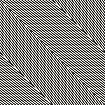 Zigzag stripes seamless pattern. Diagonal vector monochrome chevron texture. Black and white thin lines, striped zig zag. Simple abstract geometric background. Repeat design for decor, print, textile