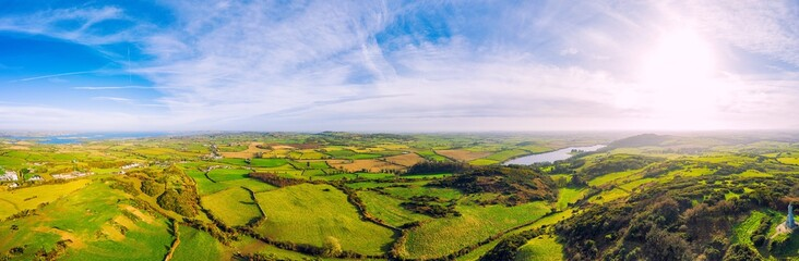 Canvas Prints Blue sky panorama aerial view of sunny winter countryside in Downpatrick,Northern Ireland