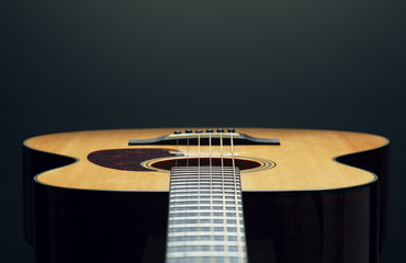acoustic guitar low angle view close up
