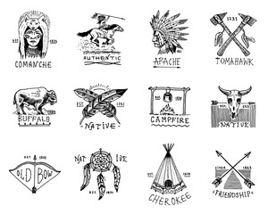 Indian badges and native american labels. Set of elements. Hand drawn engraved vintage buffalo, axes and tent, arrows and bow, skull, dreamcatcher and cherokee, tomahawk.