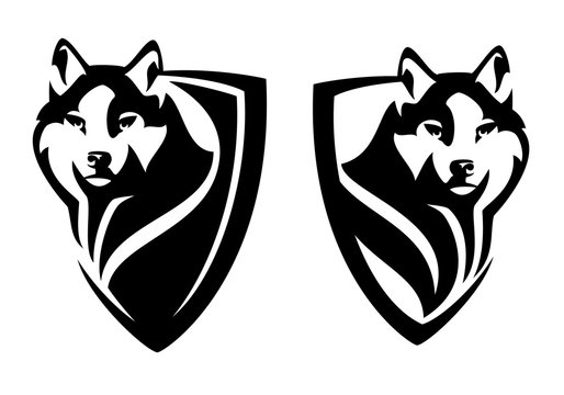 wild wolf watching attentively - animal head in heraldic shield for security concept black and white vector design