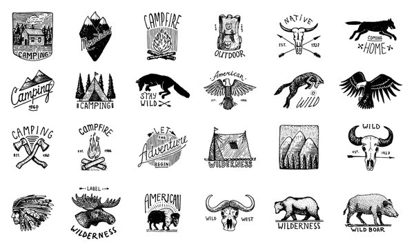 Set of camping labels or badges. Hiking or hunting emblems and outdoor adventure elements collection. Monochrome forest and alpine mountains, campfire and native american. Hand drawn engraved sketch.