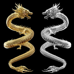 Full Twin body gold and silver dragon in smart pose with 3d rendering include alpha path.