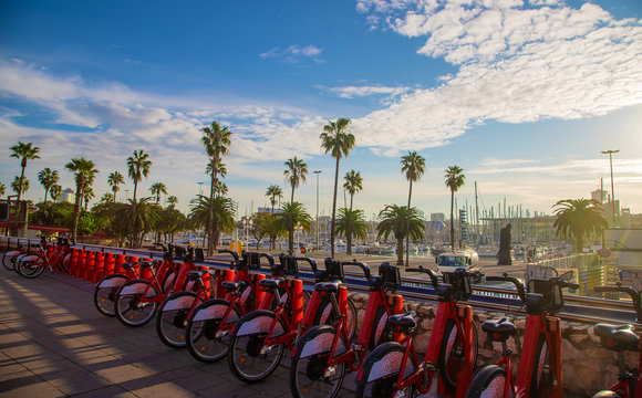 Bicycle rental on the promenade in Barcelona. Selective focus.