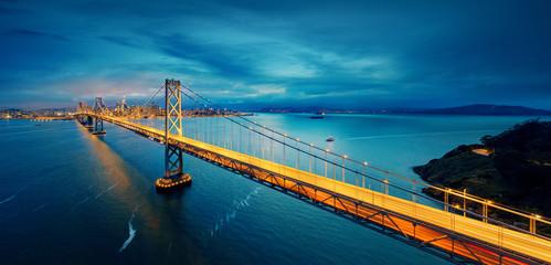Wall Mural - San Francisco Bay Bridge and San Francisco downtown in wide panorama photo