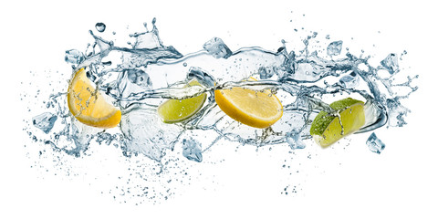 Fototapete - splashing of water waves with lemon slices and ice cubes, isolated on white