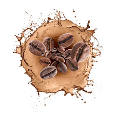 Fototapete - wave of splashing coffee with coffee beans, isolated on white
