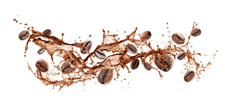 wave of splashing coffee with coffee beans, isolated on white