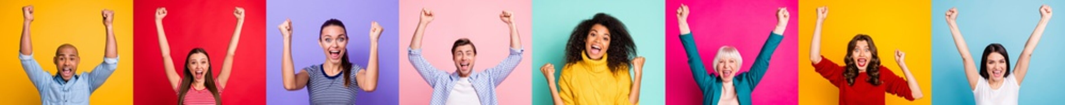 Photo collage of group of eight different delightful cheerful encouraged victorious champion millennials have good mood feel happy excited emotion isolated over multicolored background sale concept