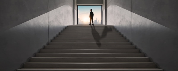 successful business way, how to success and be achievement and focus to goal concept, young businessman standing and looking out to develop working life to leader, climbing stairs to get top of city