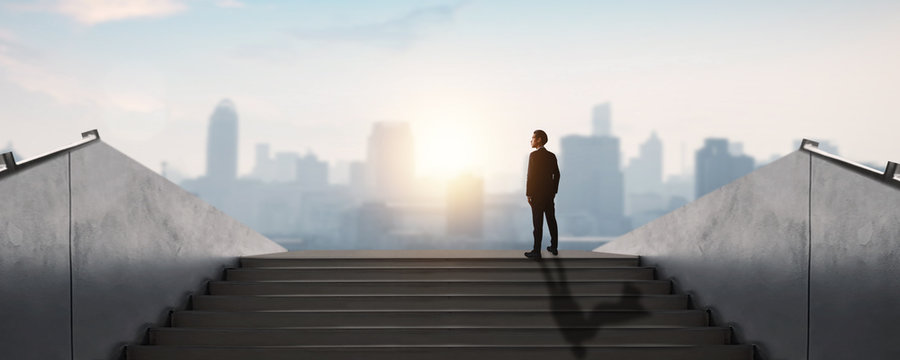 successful business way, how to success and be achievement and focus to goal concept, young businessman standing and looking out to develop working life to leader, decision and choice concept