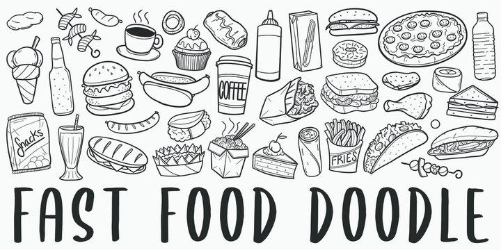 Fast Food Doodle Line Art Illustration. Hand Drawn Vector Clip Art. Banner Set Logos.