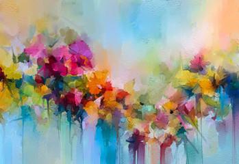 Kolorowa abstrakcja z kwiatami