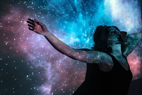 Mystical woman in the universe