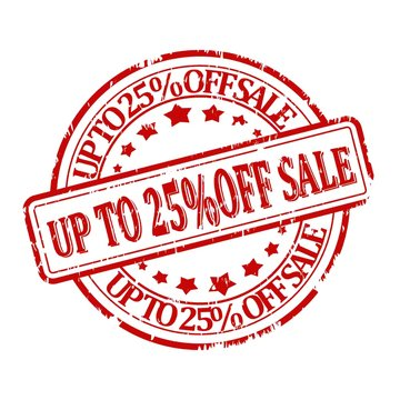 Damaged red round stamp with the words discount up to 25% off sale