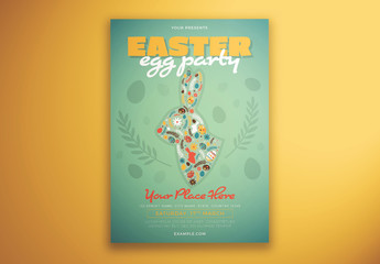 Easter Party Flyer Layout with Rabbit Illustration