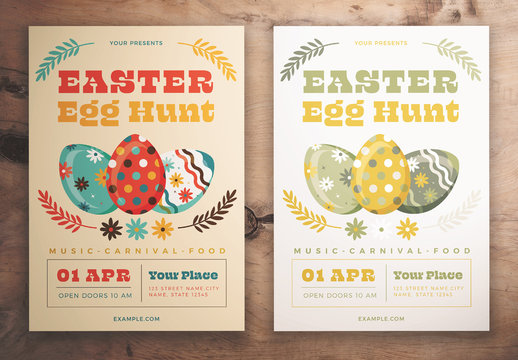 Easter Egg Hunt Flyer Layout with Floral Elements