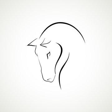 Line Horse head logo type vector illustration