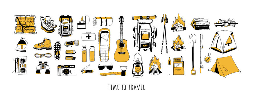 Set of vector elements in black and yellow colors isolated on white. Hiking, camping. Backpack, boots, tent, sleeping bag, compass, map, flashlight, binoculars, camera, reusable bottle, first aid kit