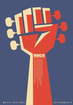 Rock revolution creative poster idea with revolutionary fist and guitar neck with tuning pegs. Music event flat flyer template. Musical vector illustration for punk or hard rock festival.