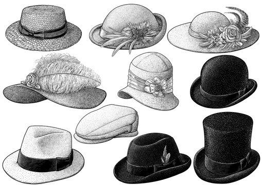 Vintage hat collection illustration, drawing, engraving, ink, line art, vector