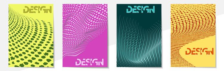 Geometric cover design templates A-4 format. Editable set