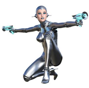 futuristic girl armed with guns, cyborg woman