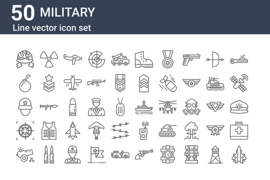 set of 50 military icons. outline thin line icons such as jet, canon, crosshair, soldier, bomb, nuclear, battleship