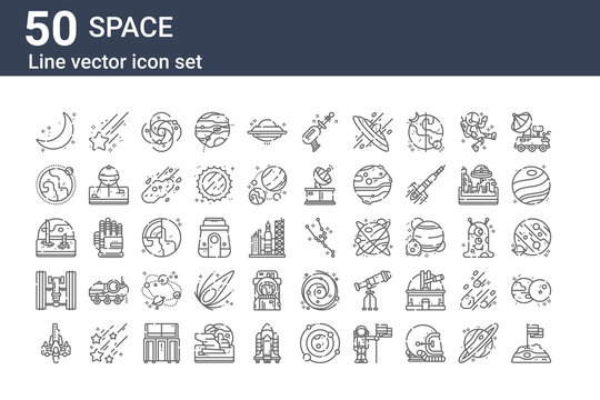 set of 50 space icons. outline thin line icons such as flag, rocket, satellite, world, earth, star, constellation