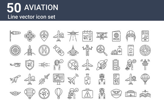 set of 50 aviation icons. outline thin line icons such as airplane, badge, plane, helicopter, turbine, drone, airplane