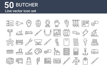 set of 50 butcher icons. outline thin line icons such as carving, diced beef, meat, pepperoni, tenderizer, meat, sausages