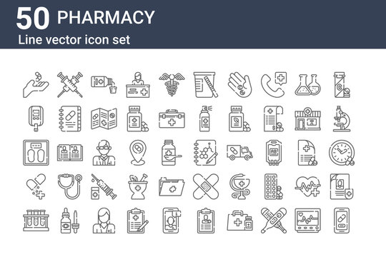 set of 50 pharmacy icons. outline thin line icons such as apps, chemical, drugs, weight, glucometer, syringe, formula