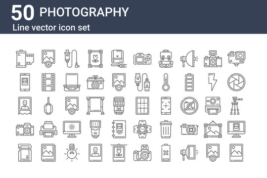 set of 50 photography icons. outline thin line icons such as photo, sd card, camera, photo, smartphone, photo, grid