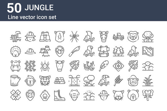 set of 50 jungle icons. outline thin line icons such as elephant, flower, trunk, hippopotamus, hedgehog, hunter, vines