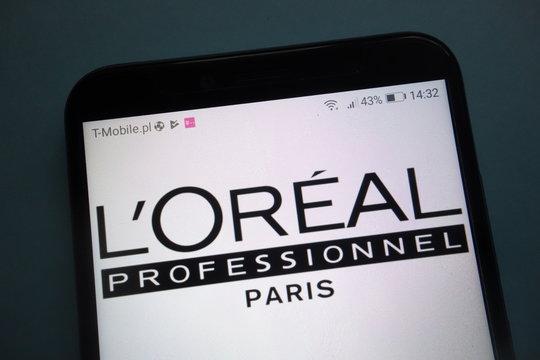 KONSKIE, POLAND - OCTOBER 28, 2018: L`Oreal Professionnel logo on smartphone