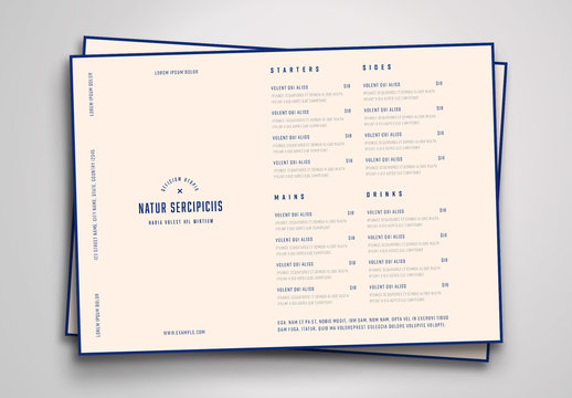 Cream-Colored Menu Layout with Blue Text and Border