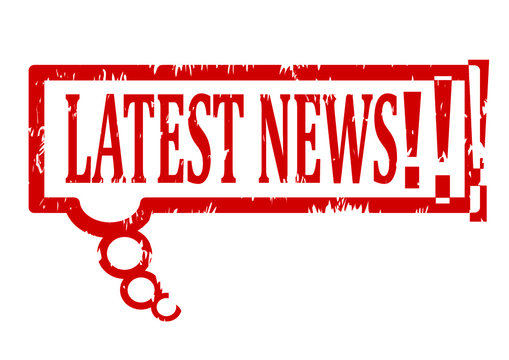 Scratched red oval stamp with the word latest news