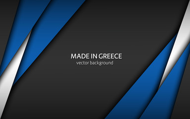 Made in Greece, modern vector background with Greek colors, overlayed sheets of paper in Greek colors, abstract widescreen background