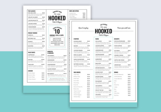 Menu Layout with Teal Accents and Footer Element