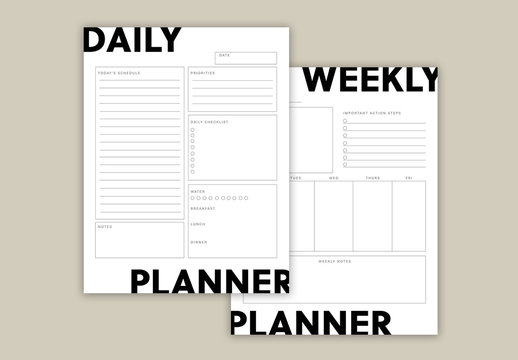 Black and White Planner Layout