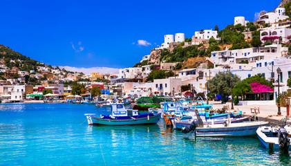 Beautiful colorful Greece - treaditional fishing village Panteli in Leros island