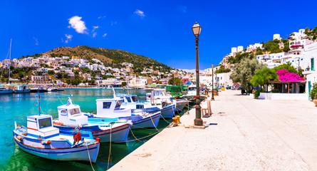 Beautiful colorful Greece - treaditional fishing village Panteli in Leros island, Dodekanese