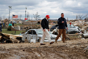 U.S. President Donald Trump tours damage from Tuesday's tornadoes and meets with federal and local response officials in Cookeville, Tennessee
