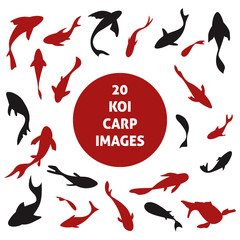 20 japanese koi carp fishes silhouettes set