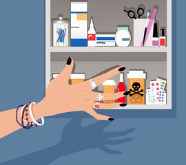 Teenage girl's hand reaching for a dangerous drug in a medicine cabinet, EPS 8 vector illustration