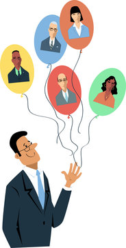 Businessman letting go balloons with employees' faces on them as a metaphor for remote work or  macro managing, EPS 8 vector illustration